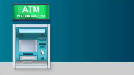 cash: ATM - Automated teller machine with green lightbox, 24 hour banking. Template with ATM terminal for advertisement on horizontal long backdrop, 3D illustration.
