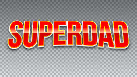 超级爸爸,红色闪亮的文字水平透明背景。超级英雄字体的t恤图形或运动标志。