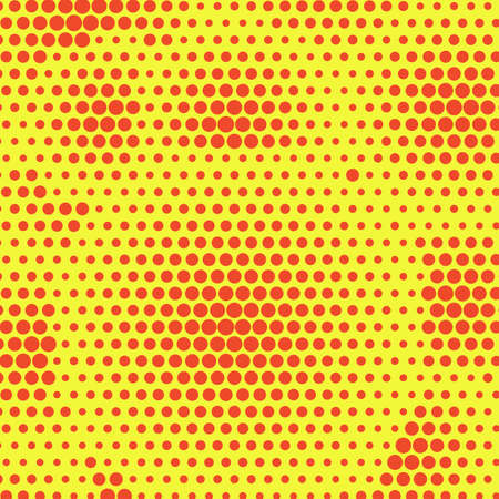 Abstract orange dotted halftone background. Two color pattern on yellow backdrop. Decorative template for cover, poster or banner.