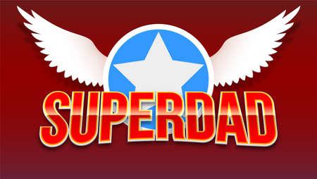 红色闪亮的文字背景上的星星和翅膀。空白贺卡与红色背景父亲节。准备好印在t恤或体育比赛的标志。插图