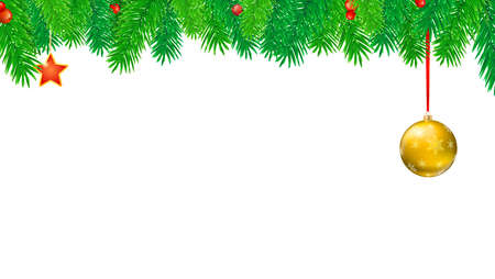 Christmas banner with fir branches and red berries. Festive atmosphere. Editable vector 3D illustration. Template for New Year or Christmas greetings card, print design, isolated on white. Illustration