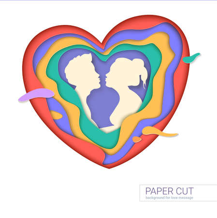multi layered: Template of greeting card with shape of kissing couple. Realistic multi layers, carving of paper. Print template for cards with paper-cut shapes of heart, modern abstract design. 3D Illustration. Illustration