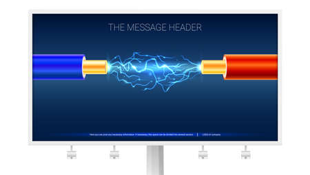 Poster with Electric cable and sparks on the Billboard. Copper electrical cable in blue and red insulation with electrical arc between the wires. Background for presentation or advertising