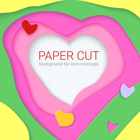 multi layered: Bright templates with paper cut shapes, modern abstract design in 3D Illustration for greeting card or background for your post; Realistic multi layers, carving of paper in paper cut shapes with shadow