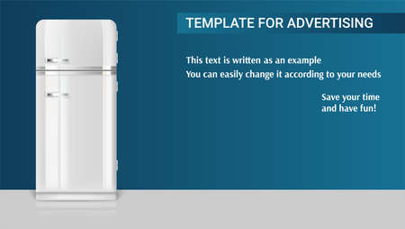 Template with retro vintage fridge for advertisement on horizontal long backdrop, 3D illustration with example of text design; Realistic white vintage fridge icon. Illustration