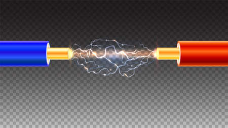 Electric cable with sparks on transparent background. Copper electrical cable in colored insulation and electrical arc between the wires. Backdrop for presentation or advertising. Vectores