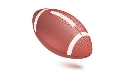 ストライプ アメフト ボール、フレームの対角線の位置。水平の現実的なベクトル 3 D イラスト白背景に分離されました。影で飛んでラグビー ボール