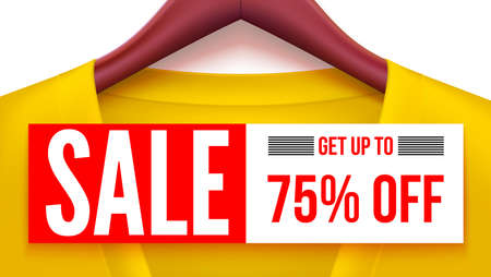 Sale banner. Yellow clothing with tag hanging on hangers. Get up to 75 percent off. Advertising with fantastic offer for your design of posters, print design, creative arts. Horizontal 3D illustration