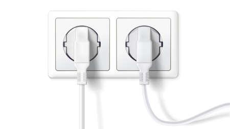 電気プラグおよびソケット。現実的な白いプラグ コンセント、白い背景で隔離の挿入します。家電機器を接続するためのデバイスのアイコン。ベク  イラスト・ベクター素材