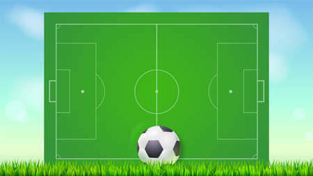 Fußballplatz mit Gras und Ball auf blauem Hintergrund des Himmels. Hintergrund für Poster, Fahne mit europäischem Fußballfeld mit Markup, Draufsicht. 3D-Illustration, bereit für den Druck.
