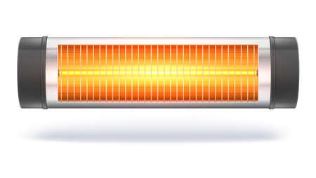 O aquecedor de halogéneo de quartzo com a lâmpada incandescente, aquecedor elétrico doméstico. Aparelho para aquecimento de ambientes no interior. Ilustração 3D, isolado no fundo branco Foto de archivo - 90586059
