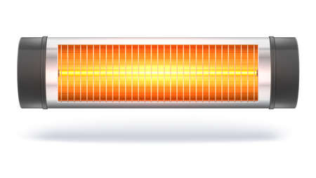 The quartz halogen heater with the glowing lamp, domestic electric heater. Appliance for space heating in the interior. 3D illustration, isolated on white background Illustration