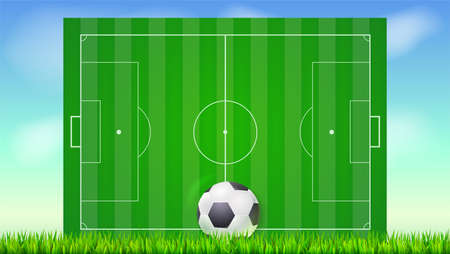 Soccer field with grass and ball on blue backdrop of sky. Background for posters, banner with european football field with markup, top view. 3D illustration, ready for print and design.