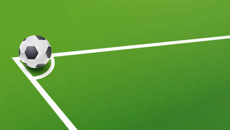 Soccer ball in corner of the field for a penalty shootout. Template of announcement for sports event invitation. Banner ready for print, vector 3D illustration.