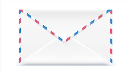 Retro mail envelope. Shape with texture effect isolated on white background. Vector 3D illustration, ready for print.
