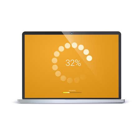 モバイルアプリ、ウェブプリローダー用のロードバー。進行状況バーの放射状の読み込み、更新またはダウンロードダイアグラムアイコン。ノート