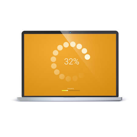 Load bar for mobile apps, web preloader. Radial load, update or download diagram icon of progress bar. Minimal flat design on yellow screen of laptop. Isolated on white background.
