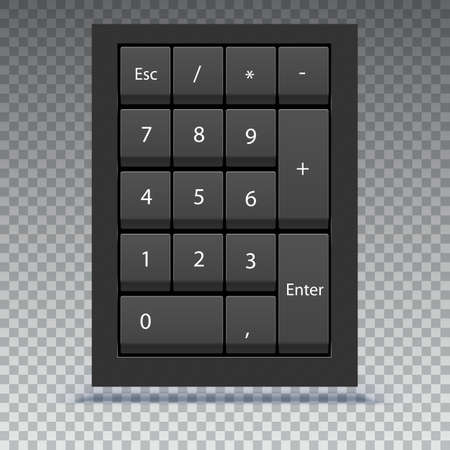 Numeric keypad, close up view. Calculator numpad with numbers, computer keys on keyboard on transparent background. Vettoriali