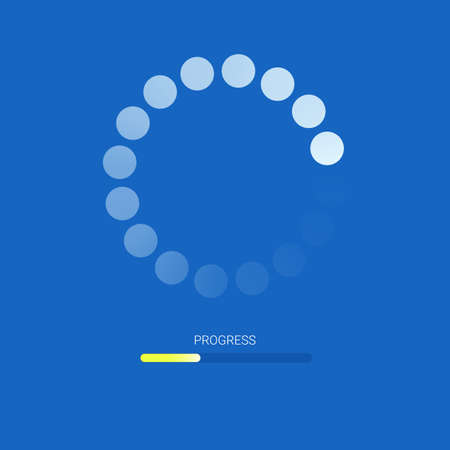 Load bar for mobile apps, web pre-loader on blue background. Yellow radial load, update or download diagram icon of progress bar flat design.