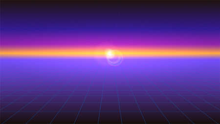 Futuristic abstract background with the sunlight rays on the horizon. Horizontal Sci-fi retro gradient, vintage style of the 80s. Digital cyber world, virtual surface with neon grids