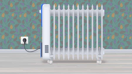 Oil radiator in room with wallpaper. White, electric oil filled heater on light wooden floor. Domestic electric heater with plug and electric cord. Horizontal 3D illustration.