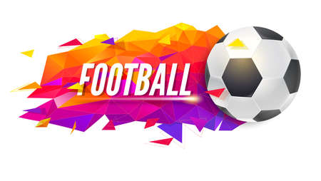 Logo for football teams or tournaments, championships of soccer. Trendy gradient, low-poly backdrop with ball and triangles for posters, banners, covers and invitations