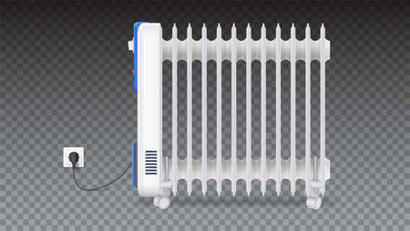 Oil radiator isolated on horizontal transparent background. White, electric oil filled heater on wheels. Domestic electric heater with plug and electric cord. 3D illustration Vettoriali