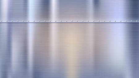 Metal background with texture and rivets. Polished riveted metal sheets. Panel with reflections and blurred reflections. Vettoriali