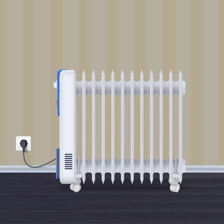 Oil radiator in room with wallpaper on backdrop. White, electric oil filled heater on wheels. Domestic electric heater with plug and electric cord. 3D illustration