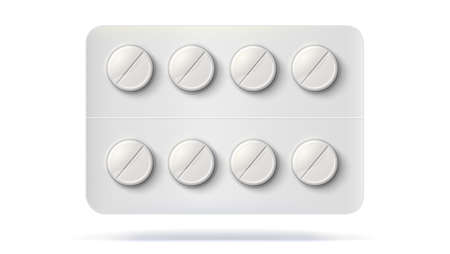 Blister pack with pills for treatment of illness. Realistic template of packaging for medical drugs for tablets.