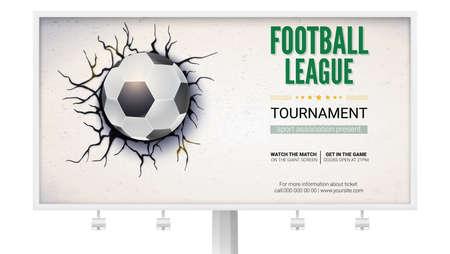 Un panneau d'affichage avec un ballon de football a endommagé le mur avec de la texture. Ballon de soccer sur fond de mur en panne avec du plâtre fissuré, illustration 3D. Affiche pour événements sportifs, tournois, championnats Banque d'images - 97534222