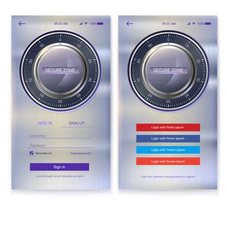 Aplicación de seguridad de diseño de interfaz de usuario en el fondo de metal. Autorización de cuenta, interfaz para aplicaciones móviles con pantalla táctil. Entrada a través de inicio de sesión, contraseña. Pantalla UX con bloqueo digital en la página de inicio de sesión