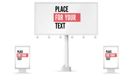 Billboard and Lightbox, ad panel placeholder for advertisement. 3D illustration isolated on white background. Set of construction of blank billboard icons, mock-up in full size