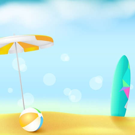 Sunny beach with Golden sand and blue sky. Summer background with sun umbrella, inflatable ball and surfboard. Template for touristic events, travel agency actions, action of sales. Stock Photo
