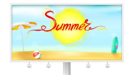 Billboard with summer background. Sun umbrella, inflatable ball and surfboard. Acrylic handwritten text summer above the symbol of sun. Sunny beach with Golden sand and blue sky Illustration