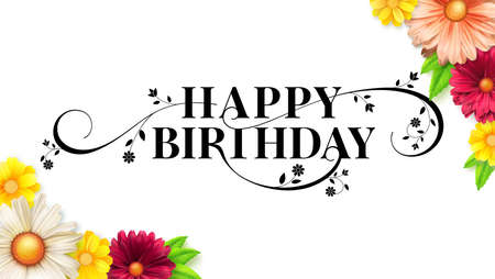 Happy birthday floral lettering design. Decorative style of calligraphy, birthday card with spring, summer flowers. Hand drawn print design. Vector brush lettering isolated on white background.