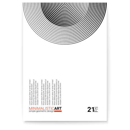 Cover design with modern geometric minimalistic art. Creative poster with simple shape in bauhaus style. Modern digital art with halftone patterns. Template for print design, vector illustration. Ilustração