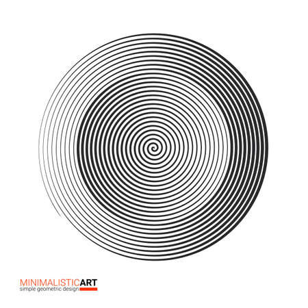 Modern geometric design, minimalistic art. Simple black and white shape in bauhaus style. Halftone concentric spiral shape isolated on white background, vector illustration.