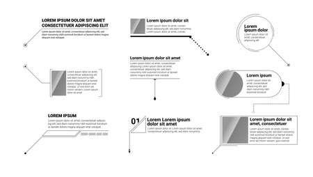 Digital callouts titles. Set of templates, modern banners of lower third for presentation isolated on white. Vector technology design of titles bar for infographics, advertising, video production.