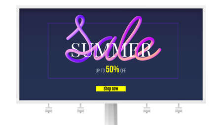 Summer sale banner on billboard. Get up to fifty percent, shop now. Design of text message in paper cut and color flowing style. Design of layout for discount events, 3D illustration.