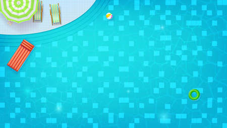 Swimming pool top view. Sunbed, umbrella, ring, beach ball floating in water. Summer concert for travel events. Waves flowing with ripple, flat lay. Vector background for cover, poster, banner.