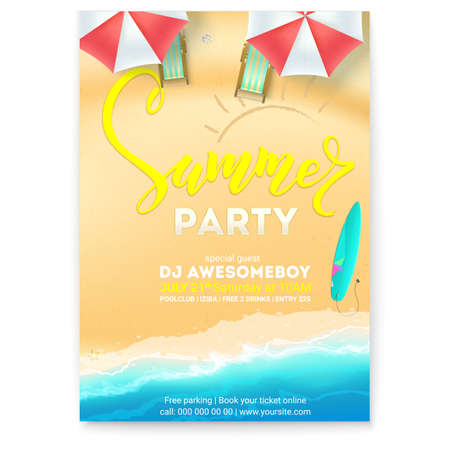 Summer party on seascape seashore with sandy beach. Vector poster of summer beach with waves of surf, sun umbrellas, deck chairs, surfboard. Cover, invitation on summer party, 3D illustration