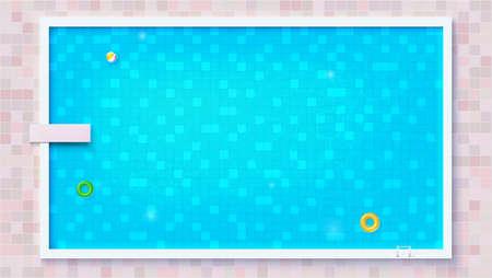 Niebieski zgrywanie wody w basenie, widok z góry. Duży odkryty basen z dmuchanymi zabawkami wodnymi, płaski widok. Dmuchany materac, piłka plażowa, gumowe kółko. Szablon wektor na imprezy, plakaty, okładka. Ilustracje wektorowe