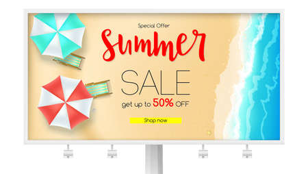 Billboard with sales action. Summer offer, get up to fifty percent discount. Seashore, sandy beach with deckchairs, sun umbrellas and design of text. Reduced prices, template for posters, banners. Ilustração