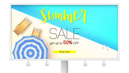 Billboard with summer sales action. Time limited offer. Get up to fifty percent discount. Top view of the blue water pool with deckchairs, sun umbrellas and design of text. Reduced prices on rest.