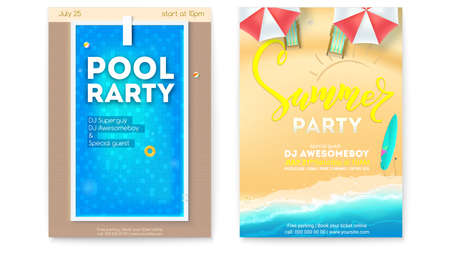 Set of posters for summer parties. Invitation for pool party and beach summer party. Top view on pool, seaside, deck chairs, inflatable balls, circles, board for jumping into water. Vector template