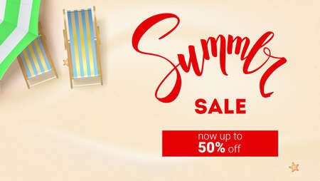Summer sale. Get up fifty percent discount. Summer sandy beach with sun umbrella, deck chair, sea stars. Top view on vector 3D illustration for summer holidays on sunny beach in flat lay position