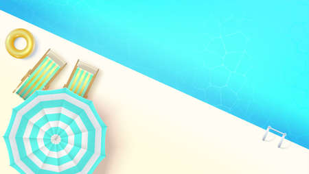 Sun loungers, swimming ring under umbrella at edge of pool, top view. Concept of summer vacation poster, flat lay. Vector template for summertime design, cover, banner, leaflet.