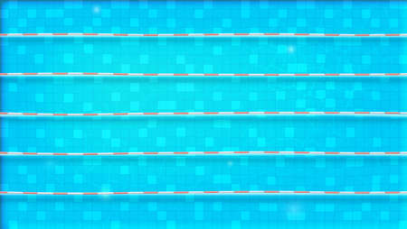 Paths for dip in the pool, top view. Texture of water in swimming pool, flat lay view. Reflexion on the water surface. Blue ripped water in sport object. Vector template for events, cover