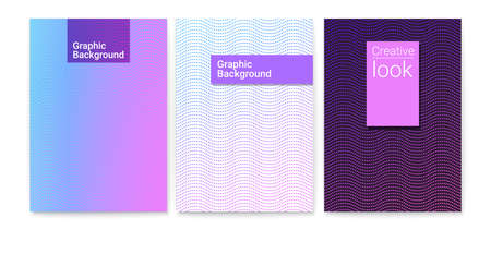 Design of posters with wavy striped halftone pattern and trendy gradient. Set of vector texture from dots. Minimalistic cover art, ornament from dotted line. Template for magazines, leaflets, banners Vettoriali